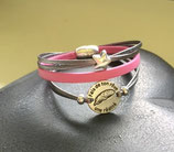 Bracelet multiliens Porto gris antique et rose