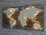 """Weltkarte aus Holz LED Beleuchtung """"KOMPASSROSE"""" braun oder grau"""