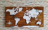 """Weltkarte aus Holz """"Kompass Spiegel"""""""