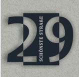 Hausnummer Schild Türnummer Modern Design 3D Effekt Deko Aludibond