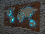 "Weltkarte aus Holz ""KOMPASS"" Größe M (60x110cm)  Größe L (70x120cm) Größe XL (80x140cm)"