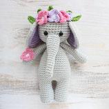 Doudou hochet éléphant couronnée au crochet