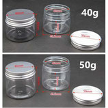 Clear PET Clear Jars with Silver Aluminum Lids - 50 gr(Approx. 2oz)