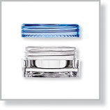 Square Jar, Clear with Round Cap in Blue