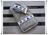 Edle Smartphonehülle grau-meliert / Handytasche aus Filz / MARITIM