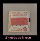 fil rose  pour enfillage de collier perle