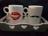 Coffret Plateau + 2 mugs bouche / moustache