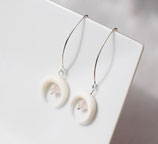 "Boucles d'oreille ""Nokomis"" long crochet argent, os blanc, quartz rose"