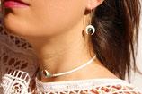 """Boucles d'oreille """"Nokomis"""" long crochet argent, os blanc, turquoise"""