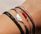 """bracelet """"WIYAKE"""" multitours en cuir noir serpent, plume argent"""