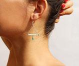 Boucles d'oreille Anahuac, triangle, cristaux de verre Mint, cuir Mint