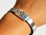 Bracelet fermoir aimanté aztèque argenté