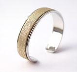 Bracelet jonc argenté 10 mm en cuir champagne texturé