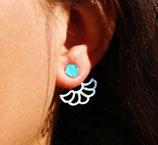 Boucles d'oreilles de lobe rond devant, cercle ajouré derrière