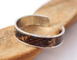 Bracelet jonc argenté 10 mm en cuir serpent