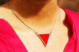 """collier """"triangle réversible"""" rouge et bleu plaqué argent"""