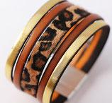 """Bracelet manchette en cuir """"Léopard"""""""