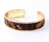 Bracelet jonc doré 10 mm en cuir serpent