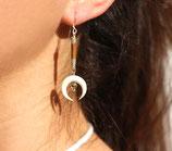 "Boucles d'oreille ""Nokomis"" cuir marron, os blanc, pyrite"