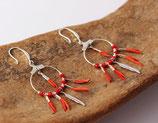 """boucles d'oreille """"kwanita"""" cuir rouge, cristaux de verre rouge, argent"""