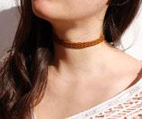 Collier ras du cou cuir marron léopard 10 mm