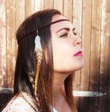 """headband """"squaw"""" cuir tressé, plume de coq marron caramel et blanc"""