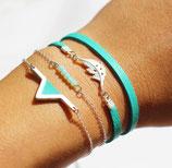 """bracelet """"aztèque"""" - triangle géométrique plaqué argent - cuir d'agneau véritable Mint"""