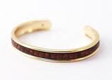 Bracelet jonc doré 5 mm en cuir marron texturé