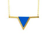 """Collier """"aztèque"""" bleu électrique, doré à l'or fin 24K"""