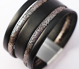 "Bracelet manchette en cuir "" Black&Silver """