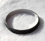 Bracelet bangle argent et cuir noir serpent