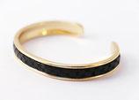 Bracelet jonc doré 5 mm en cuir Noir texturé