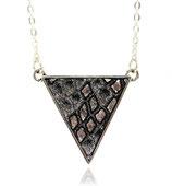 """collier """"triangle réversible"""" noir et argent plaqué argent"""