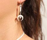 "Boucles d'oreille ""Nokomis"" cuir blanc, os blanc, opale"