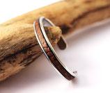 Bracelet jonc argenté 5 mm en cuir marron texturé