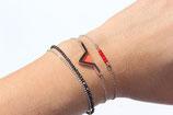 """bracelet """"aztèque"""" - triangle géométrique plaqué argent - cuir d'agneau véritable rouge vermillon"""