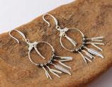 """boucles d'oreille """"kwanita"""" cuir argenté, pierres fines hématite, argent"""