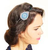 """Headband """"Aurore"""" bleu électrique et turquoise plaqué argent"""