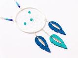 """sautoir """"Attrape-rêves"""" plumes de cuir bleu électrique et turquoise, plaqué argent"""