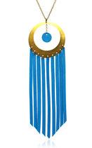 """sautoir """"Nomade"""" cercle laiton et franges de cuir bleu électrique"""