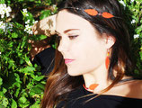 """Headband """"Plum's"""" double plumes de cuir rouge vermillon, plaqué argent"""