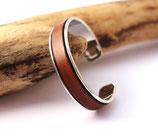 Bracelet jonc argenté 10 mm en cuir marron