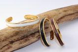 Bracelet jonc doré 5 mm en cuir blanc