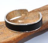 Bracelet jonc argenté 10 mm en cuir noir