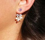 Boucles d'oreilles de lobe rond devant, floral derrière