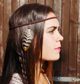 "headband ""squaw"" cuir tressé, plume de faisan marron, noir, blanc"