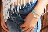"bracelet ""WIYAKE"" multitours en cuir mint, plume argent"
