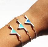 """bracelet """"aztèque"""" - triangle géométrique plaqué argent - cuir d'agneau véritable turquoise"""