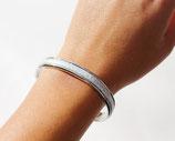 Bracelet jonc argenté 5 mm en cuir argenté craquelé