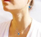 """boucles d'oreilles """"Diamond"""" bleu électrique plaqué argent mat"""